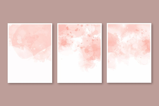 Abstract watercolor cover pack Free Vector