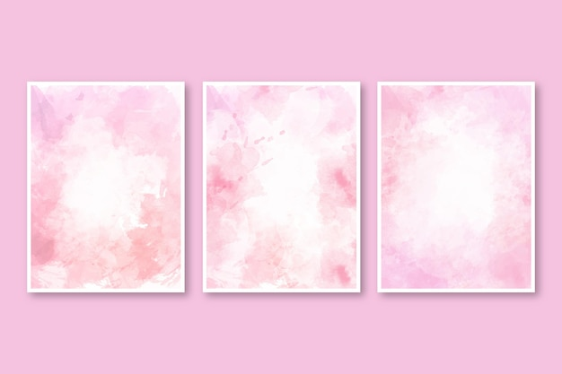 Abstract watercolor cover set Free Vector