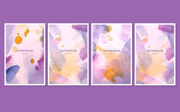 Коллекция абстрактных акварельных обложек
