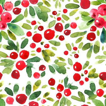 Abstract watercolor cowberry seamless pattern