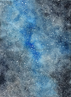 Abstract watercolor dark starry galaxy background