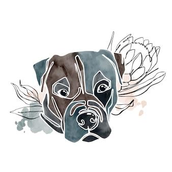 Абстрактная акварель портрет собаки с линиями искусства растений