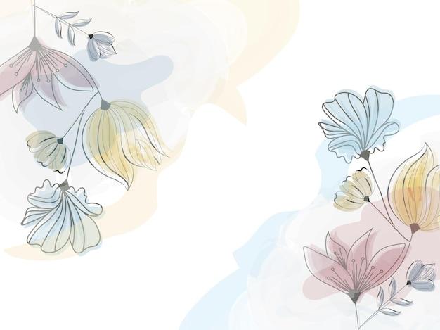 コピースペースと抽象的な水彩効果の花の背景。