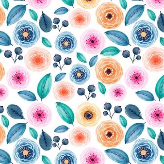 抽象的な水彩花柄のデザイン