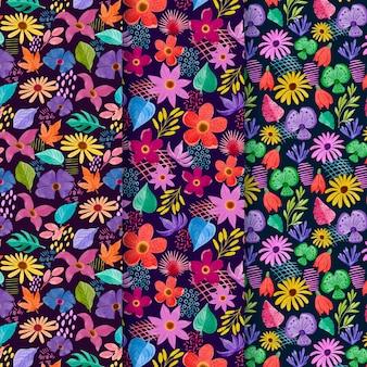 추상 수채화 꽃 패턴 세트