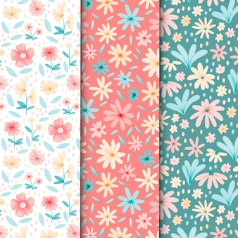 Abstract watercolor floral patterns collection