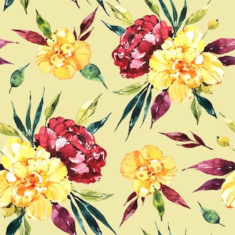 Abstract watercolor floral patterns