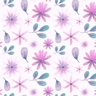 Reticolo astratto di fiori dell'acquerello con foglie