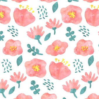 추상 수채화 꽃 패턴