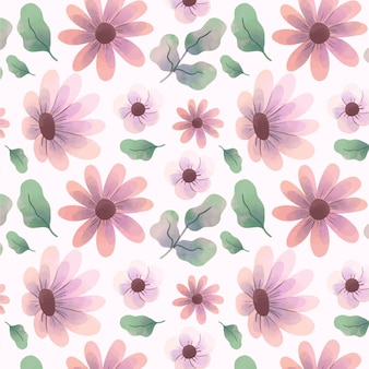 Abstract watercolor flowers pattern