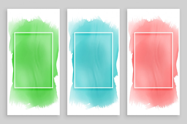 Abstract watercolor frame banners set