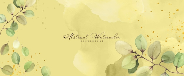 Abstract watercolor hand-painted background for banner. flower botanical leaves and stains shape watercolor vector for summer banner, header, cover, or web. paintbrush included in file.