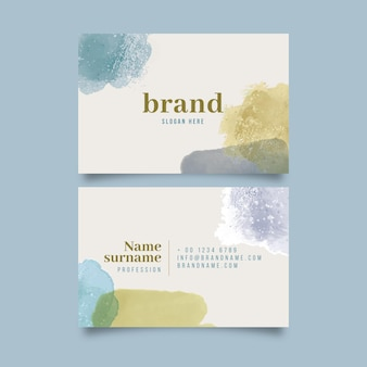 Abstract watercolor horizontal business card template