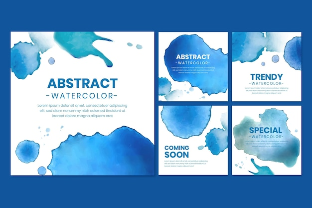 Abstract watercolor instagram posts collection