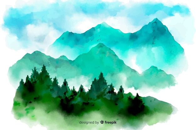 Abstract watercolor landscape background