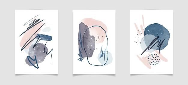 유체 얼룩 요소와 브러시 스트로크가 있는 추상 수채색 미니멀리스트 구성. 세기 중반 현대 미술 포스터 디자인. 홈 벽 장식, 지문, 캔버스를 위한 현대적인 벡터 아트웍입니다.