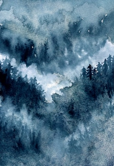 暗い空と抽象的な水彩の霧の松林