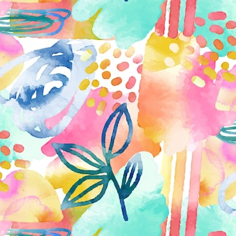 Abstract watercolor pattern with different shapes
