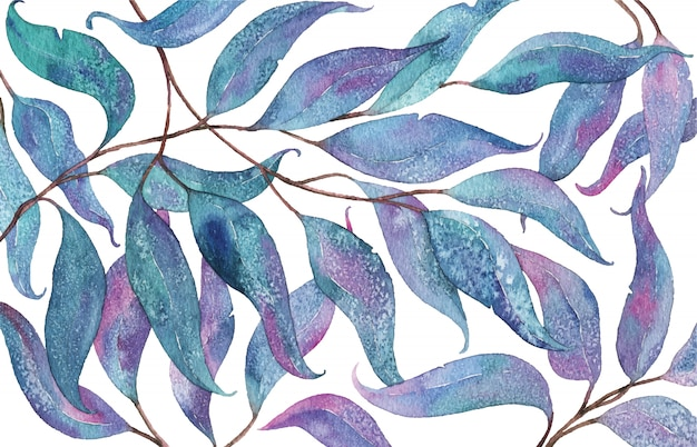 Abstract watercolor pattern with eucalyptus leaves