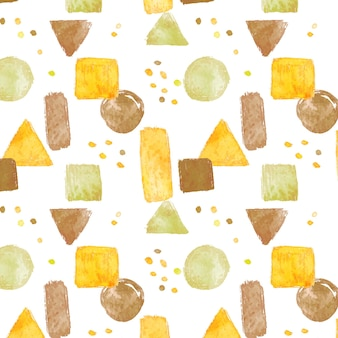 幾何学的な形の抽象的な水彩パターン