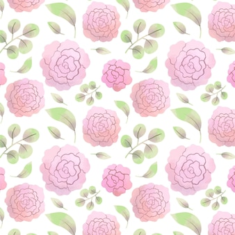 Abstract watercolor pink flowers pattern