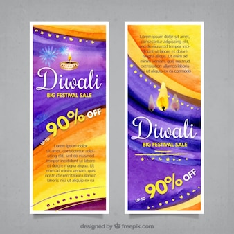 Abstract watercolor sale diwali banners