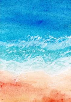 抽象的な水彩画の海と波の背景