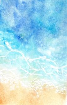 추상 수채화 바다와 파도 배경