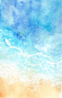 Abstract watercolor sea and wave background