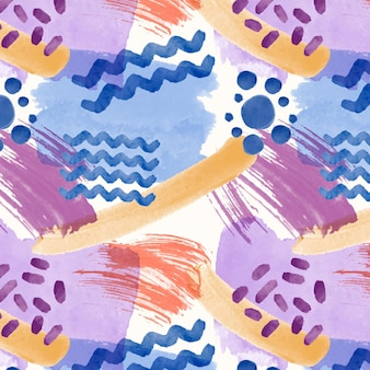 Abstract watercolor seamless pattern with lines and dots