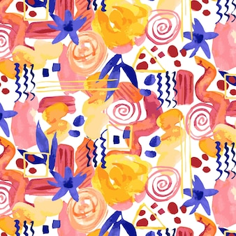 Abstract watercolor seamless pattern with various shapes