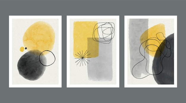 Abstract watercolor shapes covers collection