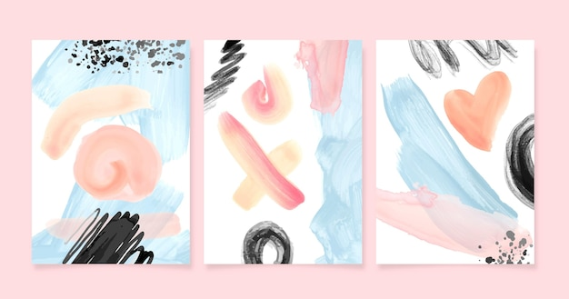 Abstract watercolor shapes covers pack