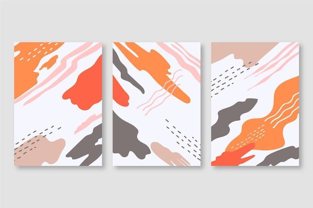 抽象的な水彩図形カバーセット