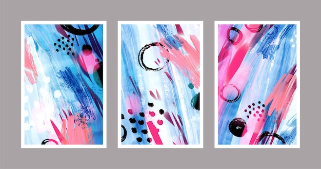 Abstract watercolor shapes covers set