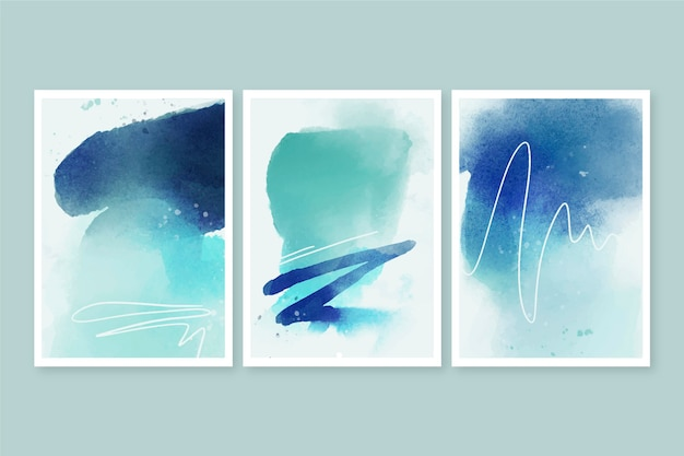 Abstract watercolor shapes covers