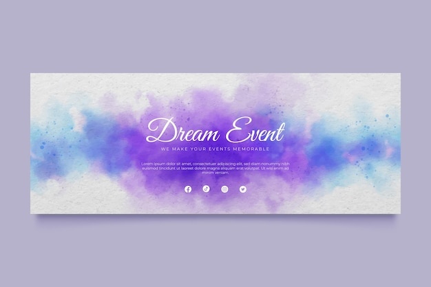 Abstract watercolor social media cover template