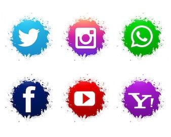 抽象的な水彩ソーシャルメディアのアイコンが設定されて