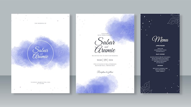 Abstract watercolor splash and monoline leaves for beautiful wedding invitation card template set
