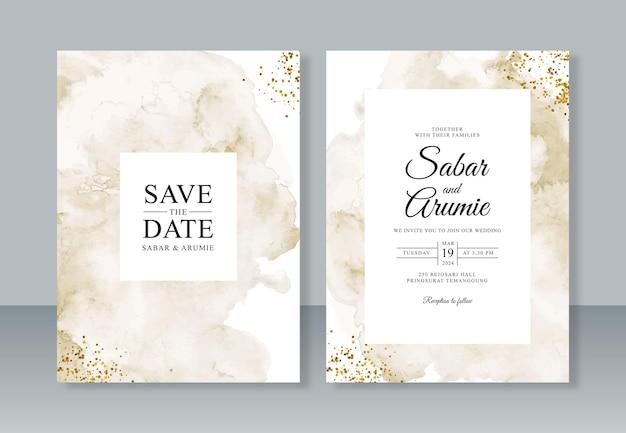 抽象的な水彩画スプラッシュ ペインティングと結婚式の招待状のテンプレートのキラキラ