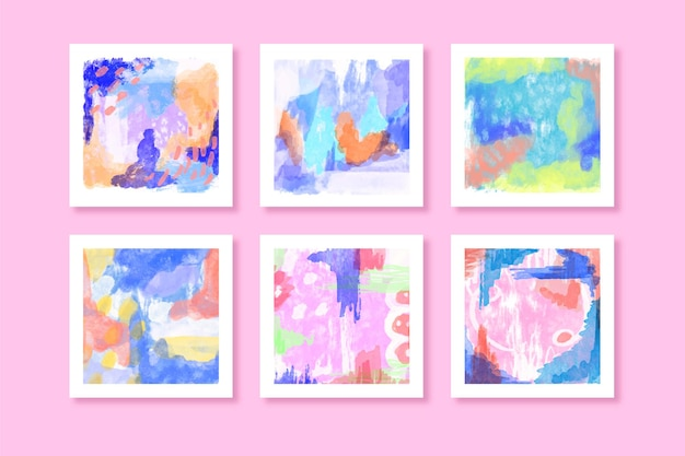 抽象的な水彩正方形コレクション