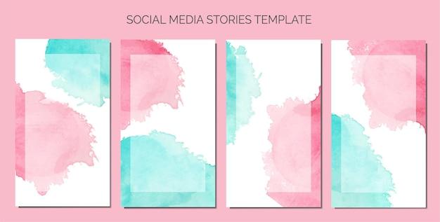 소셜 미디어 스토리 템플릿의 배경으로 추상 수채화 얼룩
