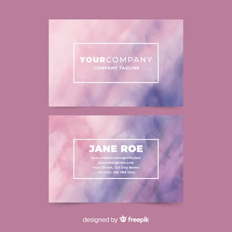 Abstract watercolor stains business card template