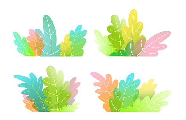 Abstract watercolor style forest trees, bush or leaves colorful cartoon for kids.