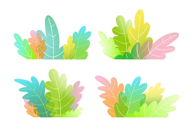 추상 수채화 스타일 숲 나무, 부시 또는 아이들을위한 다채로운 만화 나뭇잎.