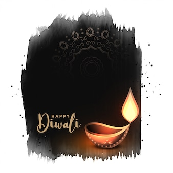 Abstract watercolor style happy diwali festival background