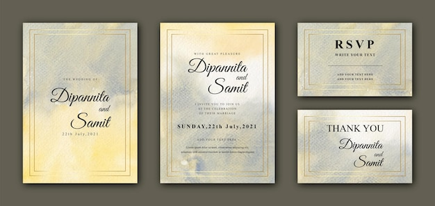 Abstract watercolor wedding cards with golden frame