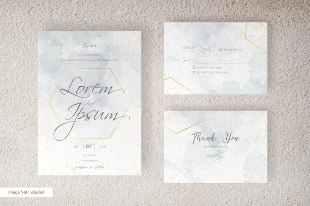 추상 수채화 결혼식 초대 카드 서식 파일