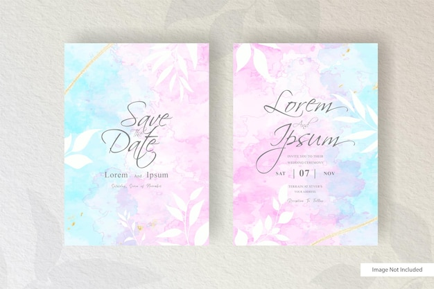 Abstract watercolor wedding invitation card with hand drawn liquid watercolor and floral