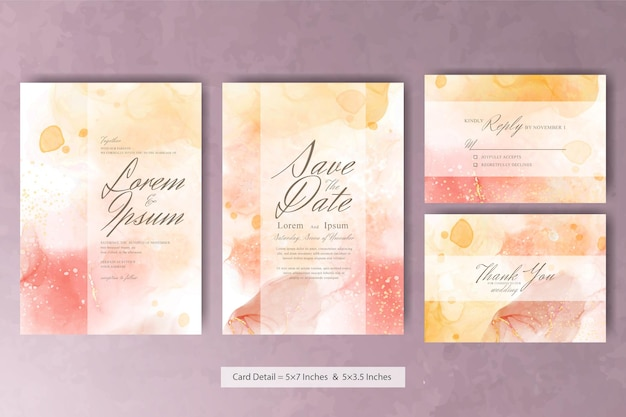 Abstract watercolor wedding invitation card with pastel color and colorfull fluid art painting